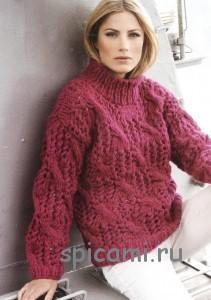 вязаный пуловер из толстой пряжи