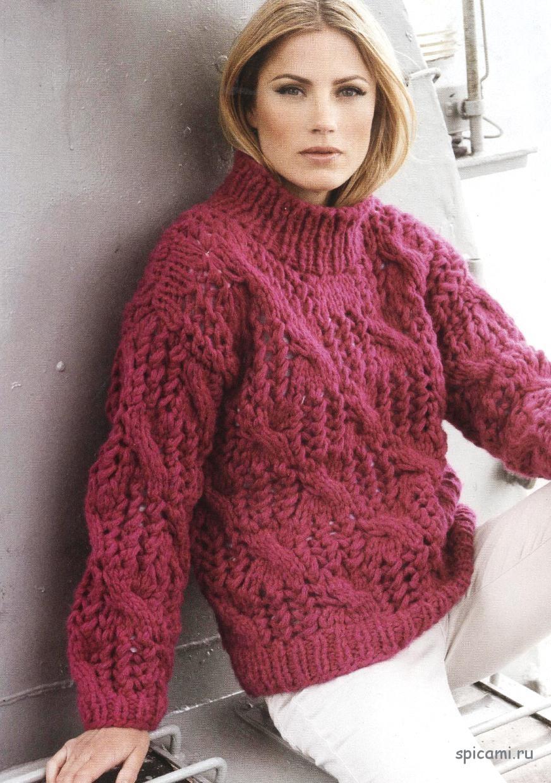 Пуловер с ажурным узором и косами из толстой пряжи