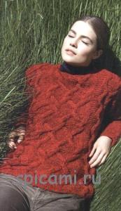 вязаный пуловер с косами и ромбами