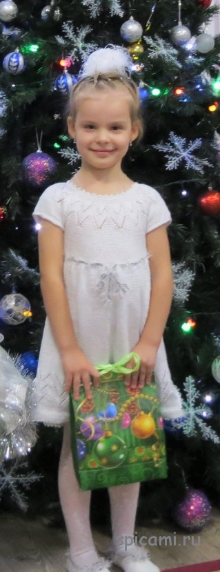 вязаное платье снежинка своими руками