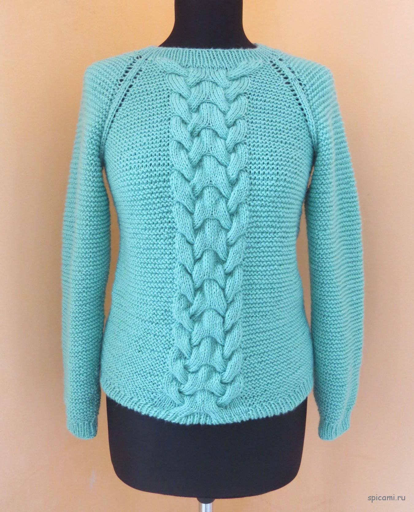 Вязаный пуловер с королевской косой