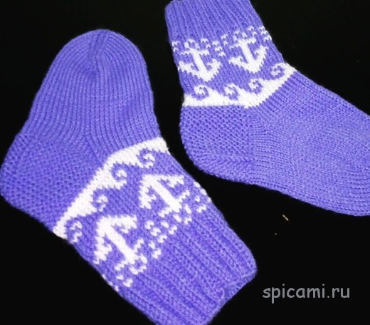 Вязаные носочки для моряка