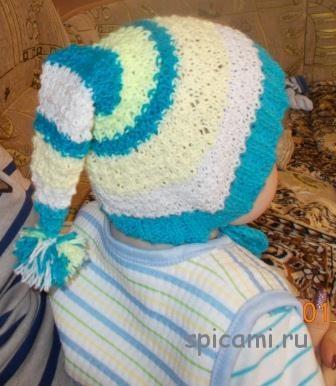 Вязаная шапочка «Буратино»