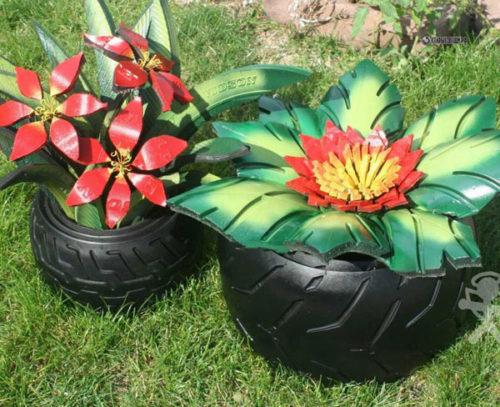 клумба цветок из шин