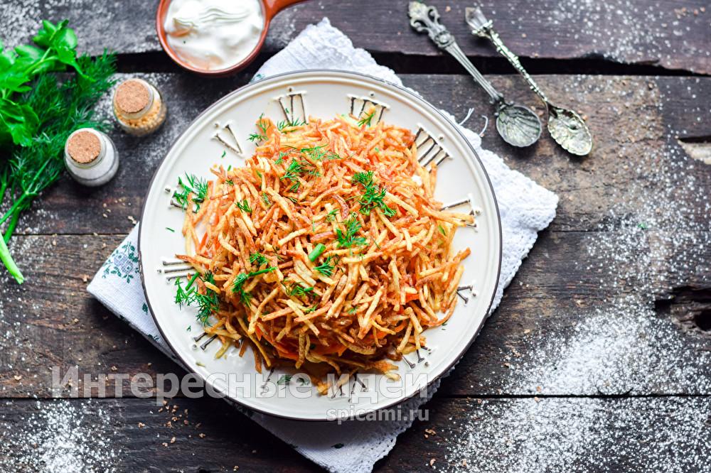 """салат """"Муравейник"""" с корейской морковью"""
