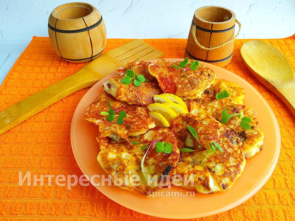 оладьи в стиле пицца