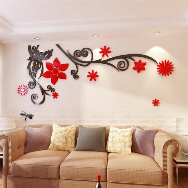 декор стен цветами
