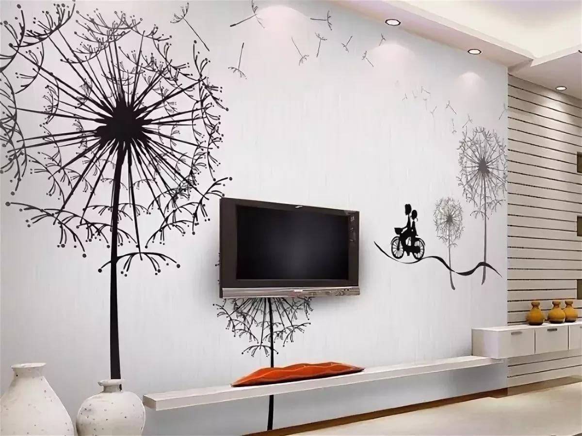 декор стен в черно-белом цвете