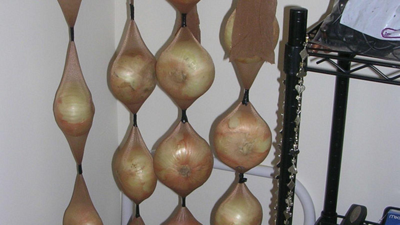 хранение лука в капроновых колготок