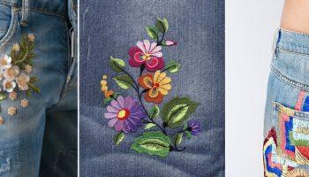 10 идей как украсить джинсы вышивкой