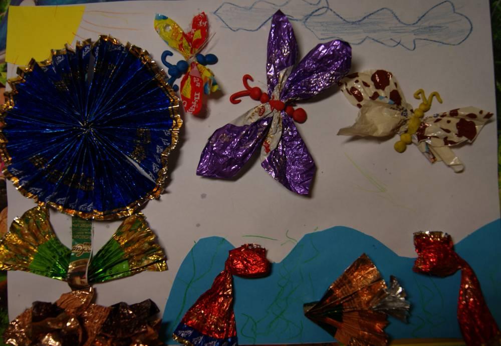 Картинки поделки из конфетных фантиков